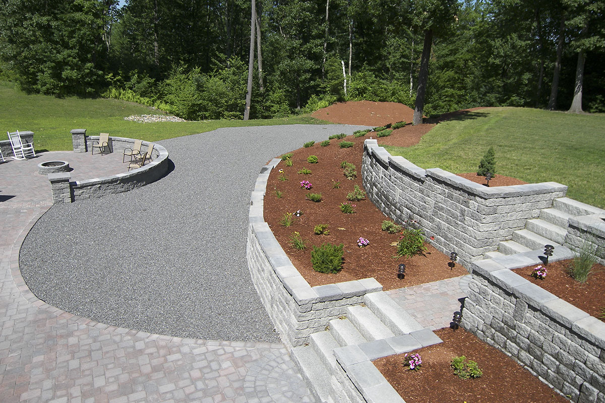 Nh stone work retaining walls nowak landscape construction for Landscape construction